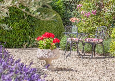 Outside lorrens spa relaxing garden area